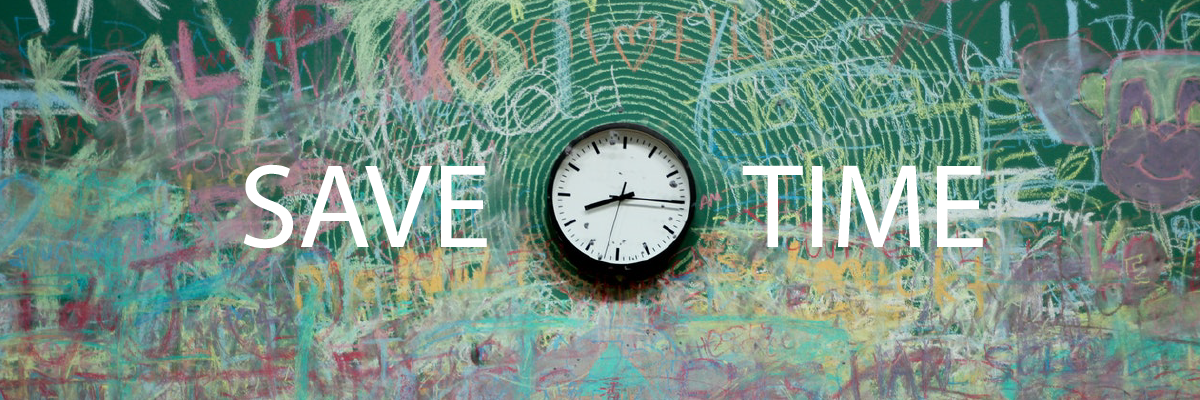"Image of a chalkboard with a clock that says ""save time"""