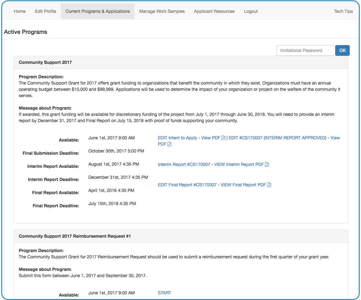 Image of the Applicant portal showing Current Programs & Applications tab to view programs and flexible pagesets as a program. View of an initial cycle called Community Support 2017 with an Intent to Apply, Application, Interim Report, and Final report and the ability to edit each along with the dates and deadlines for each. Followed by a flexible pageset titled Community Support 2017 Reimbursement Request #1 that appears in the same way and is associated with Community Support 2017 in name only