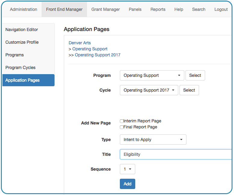 Image of the Front End Manager tab Application Pages sub tab showing the Intent to Apply Page type selected from the drop down menu followed by a title field, a sequence toggle and an add button