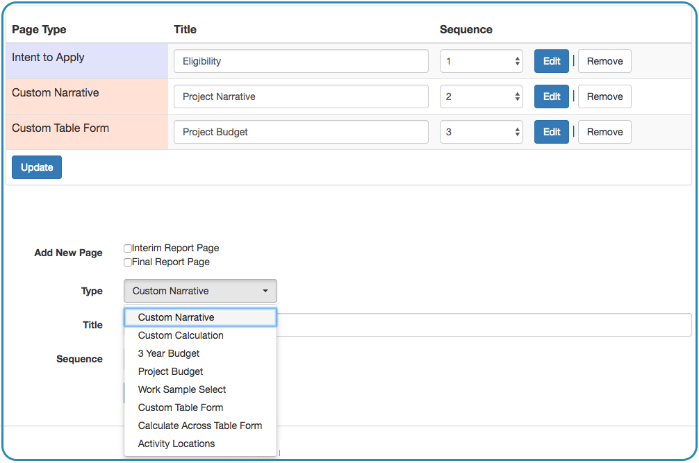 Image of Front End Manager tab Application Pages sub tab; Custom narrative is selected from the Type drop down menu