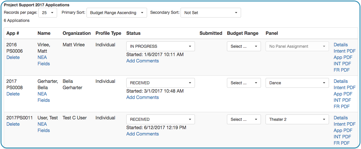 Image of Grant Manager Application List with Panel Column