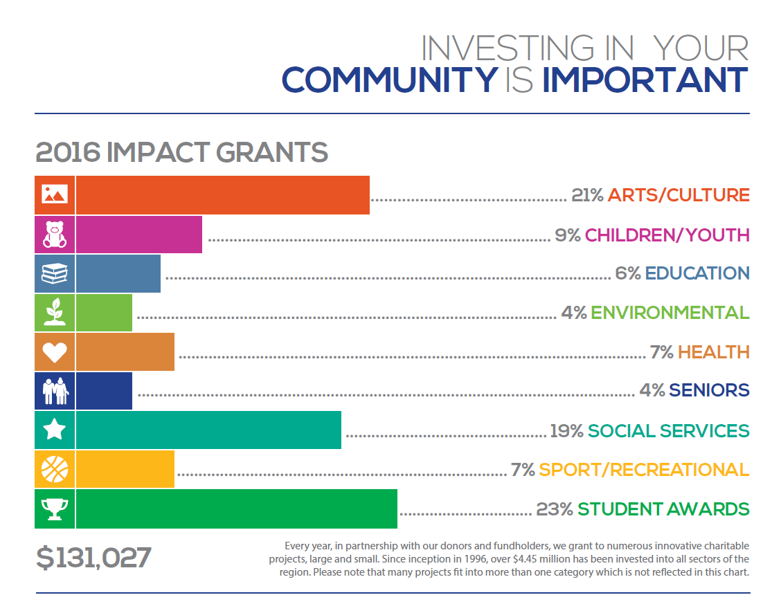 Bar/infograph depicting the investment in community broken down by 2016 impact grants. Bars are brightly colored and lead with an icon that matches the impact category