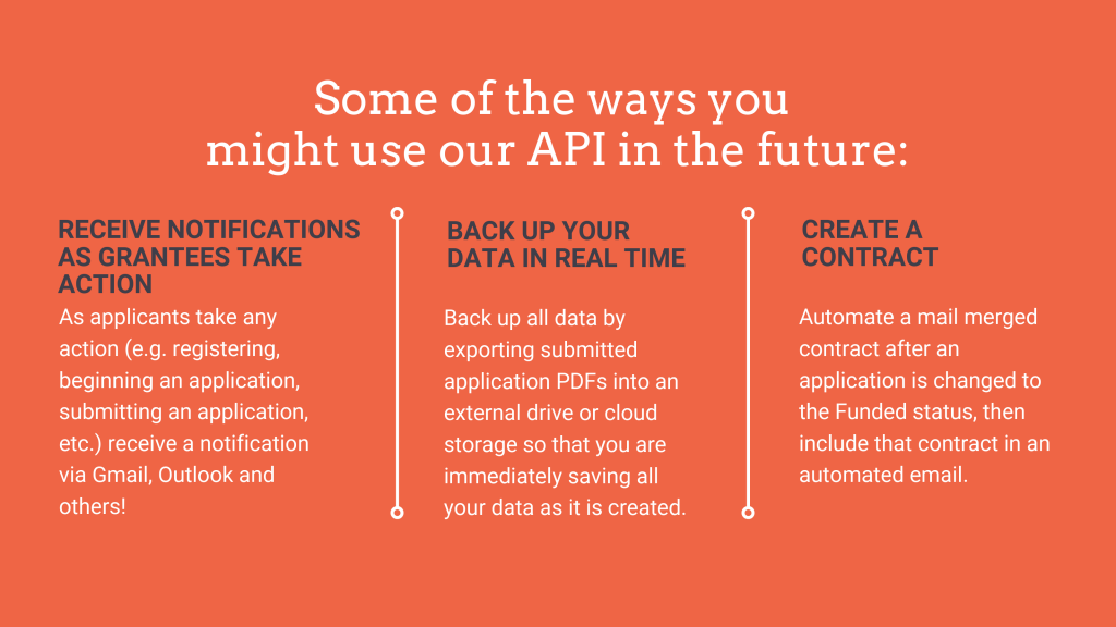 Some of the ways you might user our API in the future: Receive notifications as grantees take action; Backup your data in real time; Create a contract