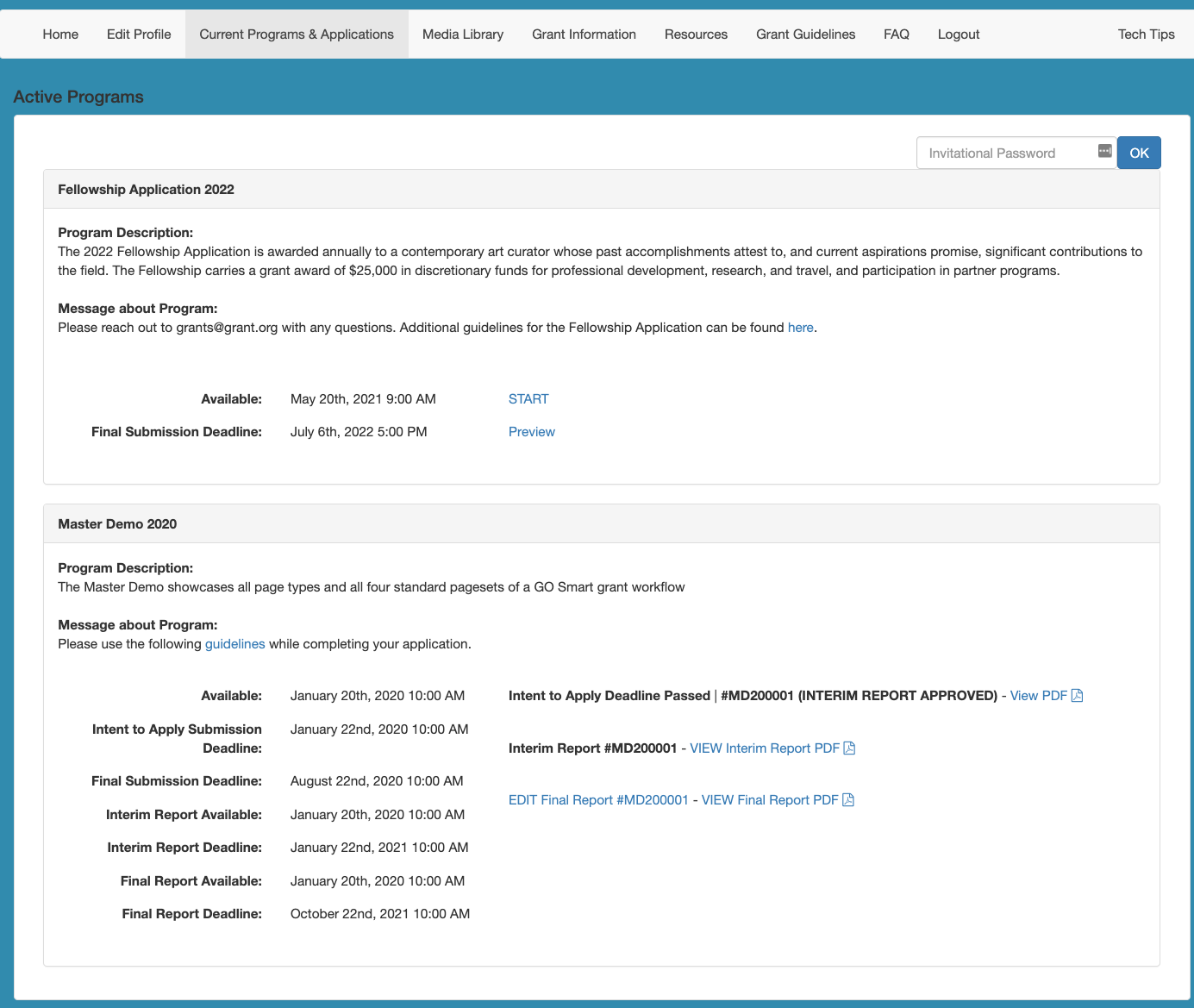 Screenshot of the Current Programs & Applications tab