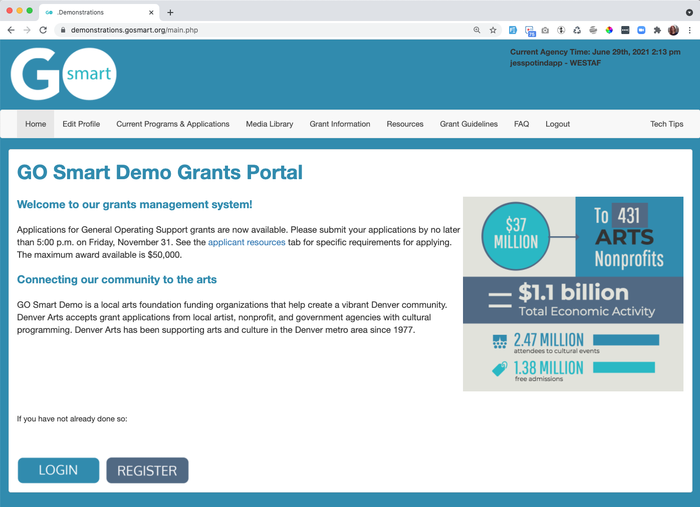 Screenshot of Demonstrations Agency home page
