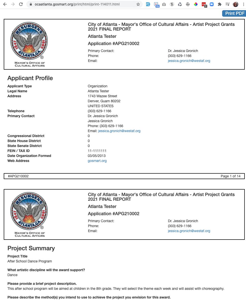Screenshot of HTML preview from Atlanta
