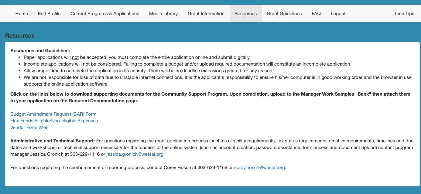 Screenshot of optional navigation page