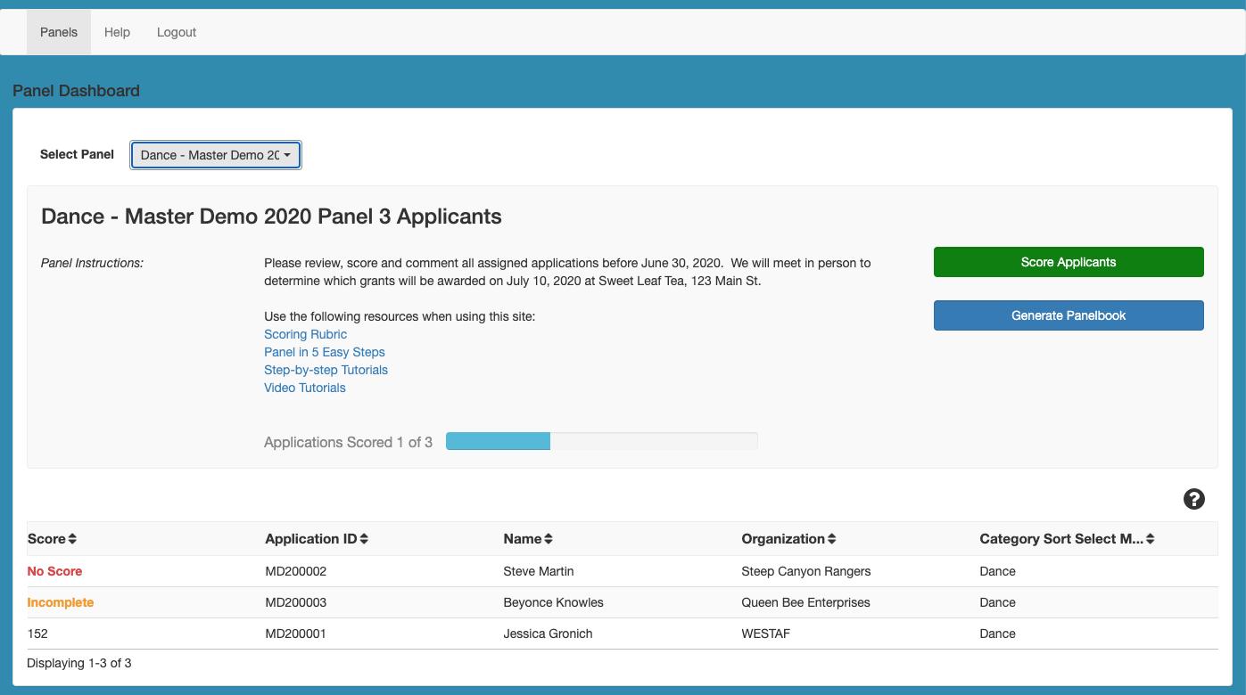 Screenshot of Panelist Portal with a Panel Selected