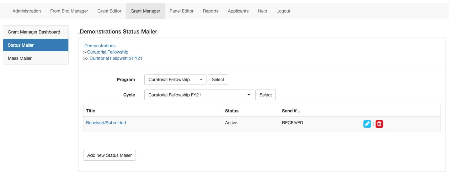 Screenshot of Status Mailer tab with one status mailer